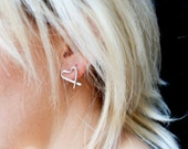heart earrings open heart studs sterling hearts and kisses studs