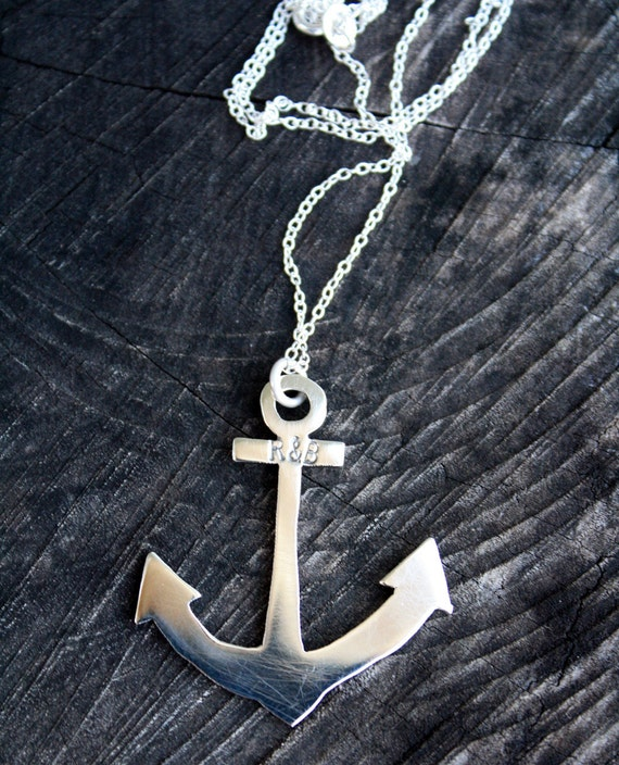 anchor necklace sterling silver anchor nautical jewelry large anchor pendant