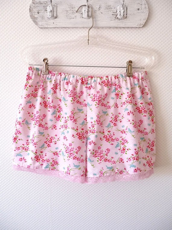 Floral Sleep Shorts. Size Large. Pink Flowers. Birdy. Soft Pink Lace. On Sale