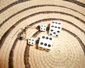 Dice Earrings Vegas Lucky & Chic Vintage 60s Kitsch High Rolller Fun Fashion Find