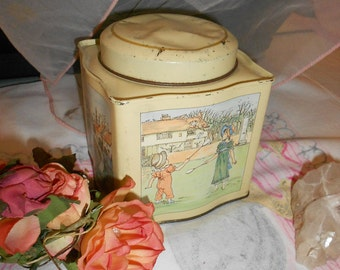 Daher Shabby Tin Lithographed Vintage English Biscuit Brand With Scenes Of Colonial Children
