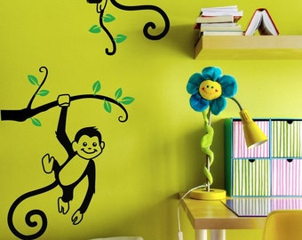 Monkey Wall Decals - 2 Monkeys Hanging on a Branch Nursery Decor Decal, Playroom Wall Vinyl Sticker