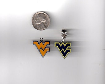West Virginia University WVU Inspired European CHARM,  CHooSE Blue or Gold - Fits most Name Brand Big-hole and Snake-type bracelets Ncaa