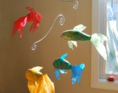 Fish Mobile Rainbow Fabric - for baby nursery or kid's room