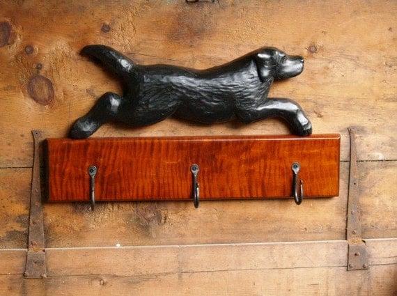 Black Labrador Retriever Coat Rack - Black Lab Leash Holder - Pets