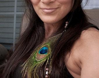 Peacock Boho Headband - Feather/ Beaded Boho Headband Tassel