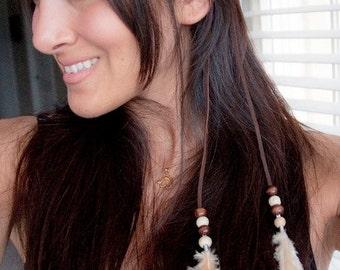 Feather Boho Headband - Natural Feathers Tassel Boho Headband