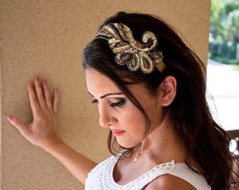 Gold Sequin Wing Headband - Sequin Angel wing on golden bronze ribbon headband