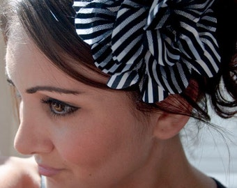 Striped Flower Headband - Black & White striped flower on a black sequin headband