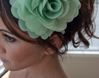 Mint Flower Headband - Poofy Mint Green Flower on a White ribbon Headband