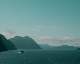 Nature photography, fjord landscape, Hurtigruten ferryboat, Storfjord - Norway, 6x9
