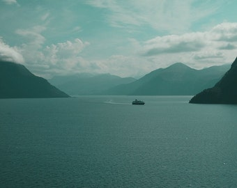 Peaceful fjord landscape, Norway photo, turquoise sky, calm sea, Hurtigruten ferryboat, Storfjord 8x10, Scandinavian art