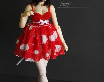 Red polkadot ruffle dress for MSD