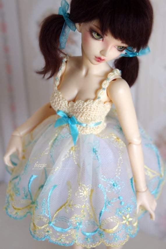 LAST ONE Vanilla & turquoise dress for MSD