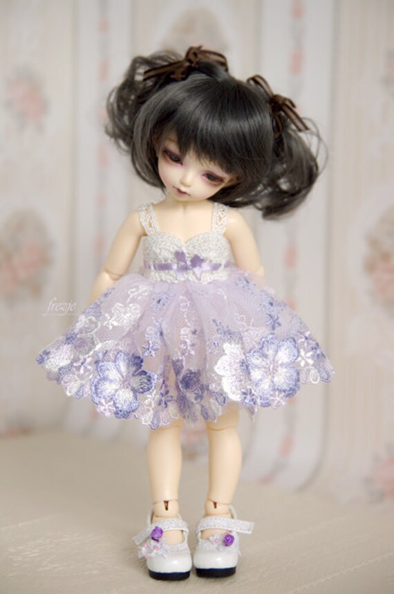 LAST ONE Lavender & silverywhite dress for TINY bjd LittleFee