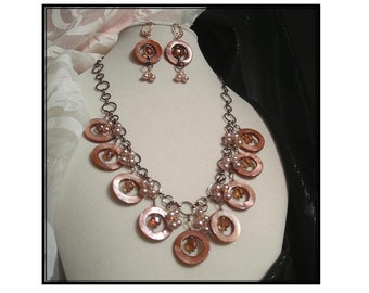 Peach Necklace w/Mother of Pearl, Genuine Light Pink Pearls & Crystals on Antiqued Copper by Terriann's Originals
