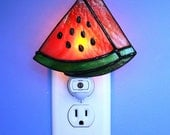 Night Light Stained Glass Summertime Watermelon Light Sensored