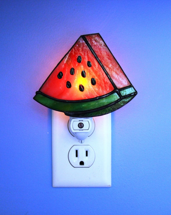 Night Light Stained Glass Summertime Watermelon Light Sensored
