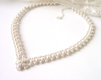 Pearl Wedding Necklace Bridal Jewelry, Bridal Necklace, Wedding Jewelry, Pearl Jewelry, Silver Necklace, White or Ivory Pearl Necklace