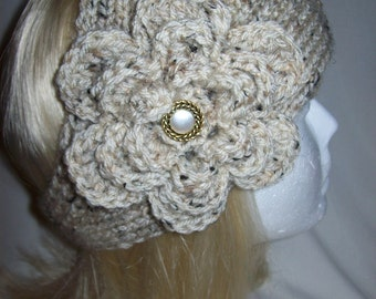 Lovely Oatmeal Flowered Headband READY TO SHIP
