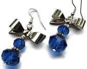 Blue Crystal Earrings with Silver Bow  (E10)
