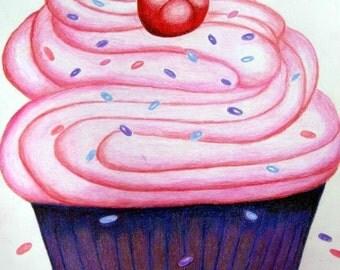 Cupcake with a Cherry - Cross stitch pattern pdf format