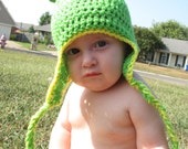 Crocheted Frog Hat Newborn - 5 years