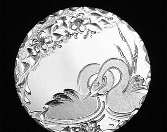 Hand Engraved  Love Swans Brooch