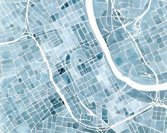 Nashville Blueprint 8x8 12x12 16x16 Summit Ridge Map Print Indigo Blue Jean Southern City Map