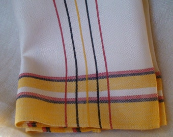Art Deco Linen Damask Scarf, Guest Towel, New Stock