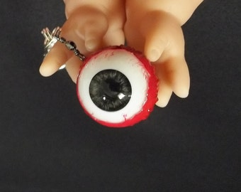Real looking eyeball keychain bag purse charm macabre keychain oddity keychain eyeball charm horror keychain Halloween keychain unusual