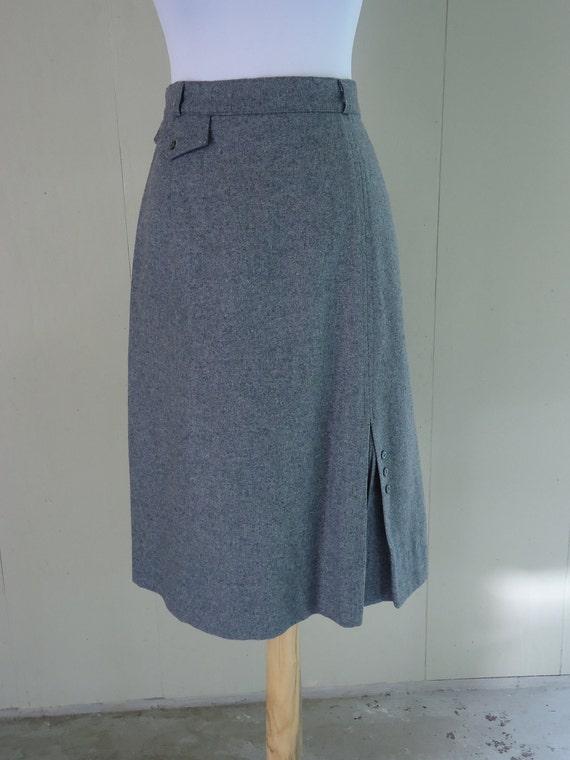 wool pencil skirt / 70s wool skirt / 1970s French Gray Skirt