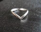 V Chevron Ring 925 Sterling Silver Smooth