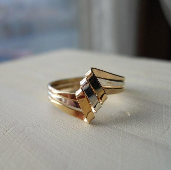 925 Sterling Silver Gold Filled Diamond shape Ribbon Ring
