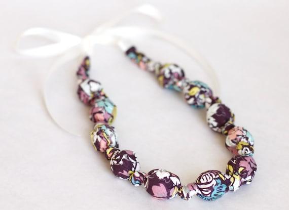 SALE Teething Necklace- Purple Wildflowers
