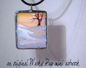 SALE SAVE 40% Winter Morning Tiny Hand Painted Tree Landscape Art Glass Pendant - Tiffany Art Glass - Original Artwork OOAK