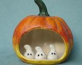 Sculpter Needle felt pattern - Skeleton buddies & Ghosts Toys PHOTO Tutorial -  PDF felting tiny toys
