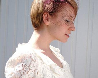 Purple lace birdcage veil