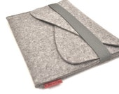 iPad Case Wool Felt with Double Pocket and Elastic Trim in Granite
