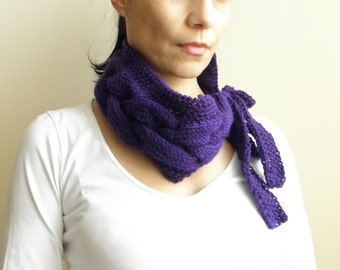 Amethyst purple Cable woman Neckwarmer, Braided cowl , headband, earwarmer , plum eggplant purple