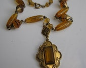 Vintage 1930s Topaz Wedding Necklace - Victorian Revival Greek Key - Bridal Fashions