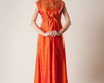 Vintage 1960s Orange Silk Dress - Empire Waist Maxi - Bollywood Wedding Bridal Fashions