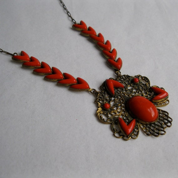 Vintage 1920s Art Deco Necklace Filigree Red Chevron Bridal Fashions