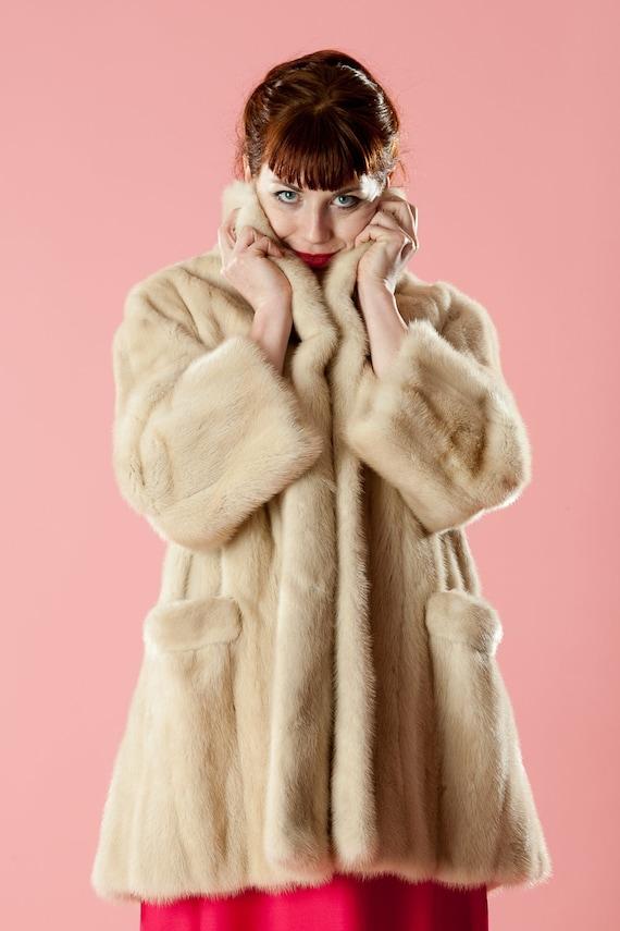 RESERVED Vintage 1950s Mink Wedding Coat Stroller Bridal Fashions Winter White
