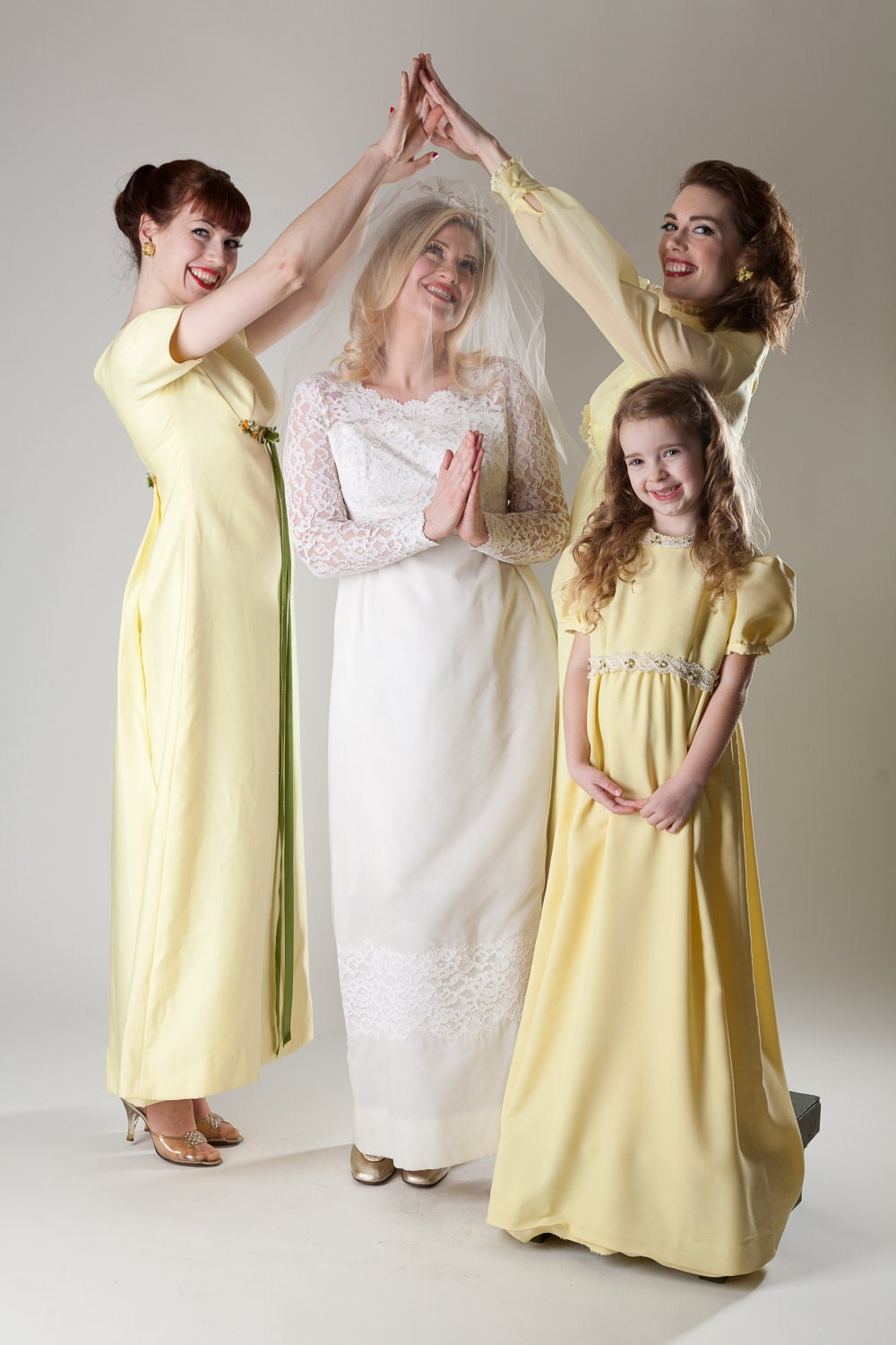 Vintage 1960s yellow bridesmaid dresses set of three 1970s Wedding dress 1960