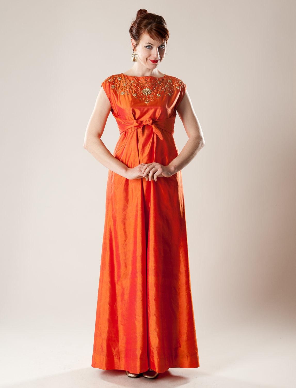 Vintage 1960s Orange Silk Dress Empire Waist Maxi