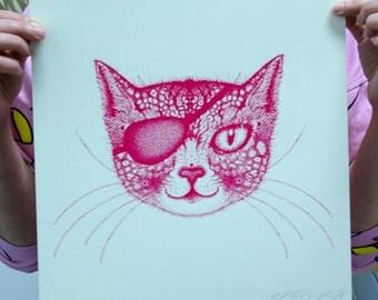 "Cat in an Eyepatch/ 12"" Screen Print"