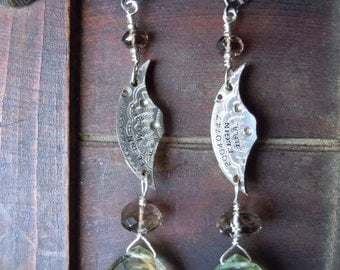 Victorian Steampunk Eclectic Gemstone Earrings Green Amethyst Smokey Lemon Quartz Antique Watch -Free Shipping-
