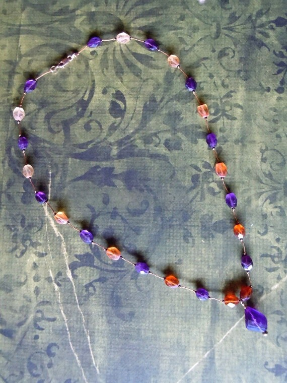 Natural Purple Amethyst and Multi Toned Hessonite 14 Karat Goldfill Hand Knotted Silk Floating Bead Necklace -Free Shipping-