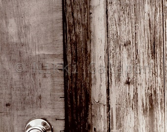 Lonely Door 003, Black and White Fine Art Photograph rustic worn wood